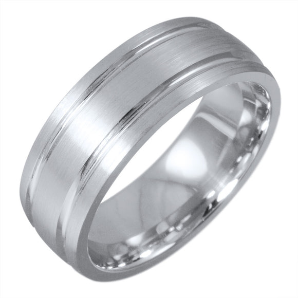 <b>WHITE GOLD DOUBLE GROOVE SATIN FINISH BAND</b><br>by G.S. DESIGN - PERSONA JEWELRY