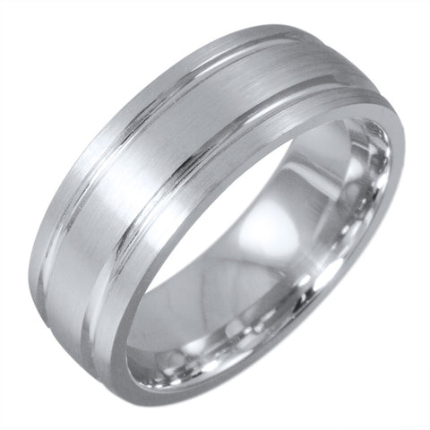<b>WHITE GOLD DOUBLE GROOVE SATIN FINISH BAND</b><br>by G.S. DESIGN