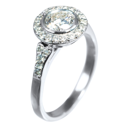 14K WHITE GOLD BEZEL SET DIAMOND RING IN HALO STYLE