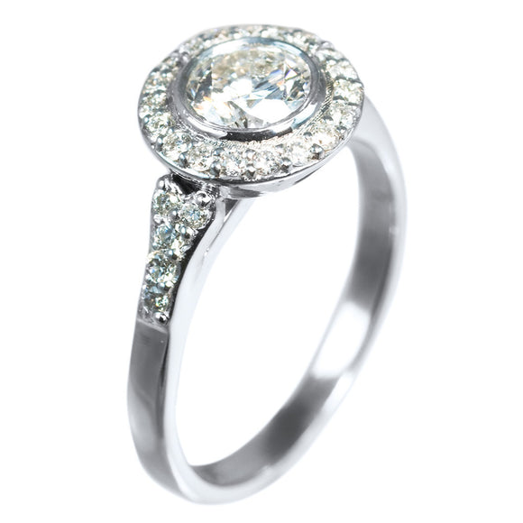 BEZEL SET DIAMOND RING IN HALO STYLE - PERSONA JEWELRY