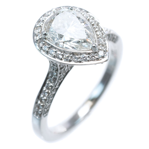 PEAR SHAPE HALO DIAMOND RING SETTING (CENTER STONE NOT INCLUDED) - PERSONA JEWELRY