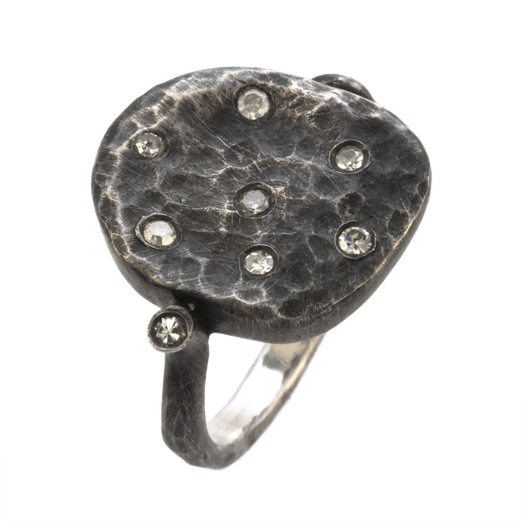 <b>OXIDIZED SILVER & DIAMOND RING</b><br>by G.S. DESIGN