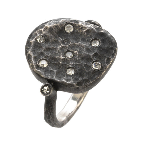 DIAMOND OXIDIZED SILVER FLAT RING - PERSONA JEWELRY