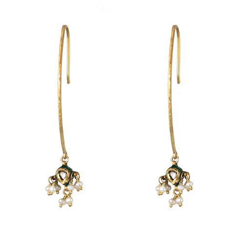 18K YELLOW GOLD ROSE CUT DIAMOND & PEARL EARRINGS - PERSONA JEWELRY