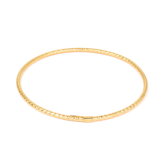 18K ROSE GOLD TEXTURED HOLLOW BANGLE BRACELET - PERSONA JEWELRY