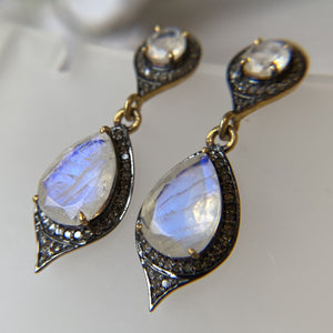 OXIDIZED STERLING SILVER & VERMEIL MOONSTONE DIAMOND PAVE DANGLE EARRINGS - PERSONA JEWELRY