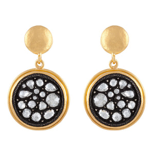 24K YELLOW GOLD 2.25 CTW ROSE CUT DIAMOND EARRINGS - PERSONA JEWELRY