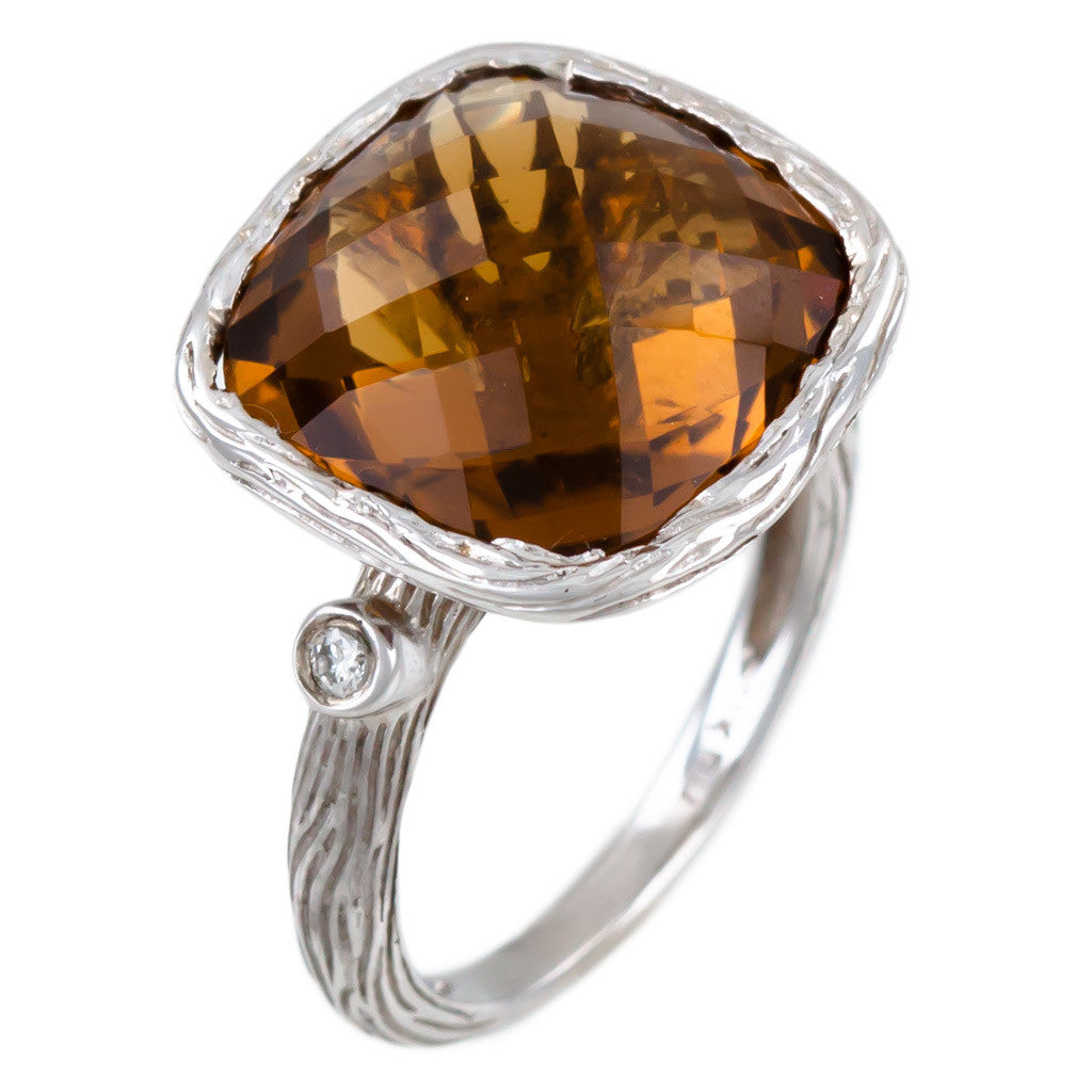 <b>WHISKY QUARTZ & DIAMOND RING</b><br>by G.S. DESIGN
