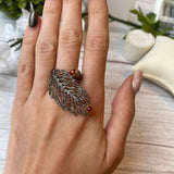 OXIDIZED STERLING SILVER 1.10 CTTW GARNET JUNIPER LEAF RING - PERSONA JEWELRY