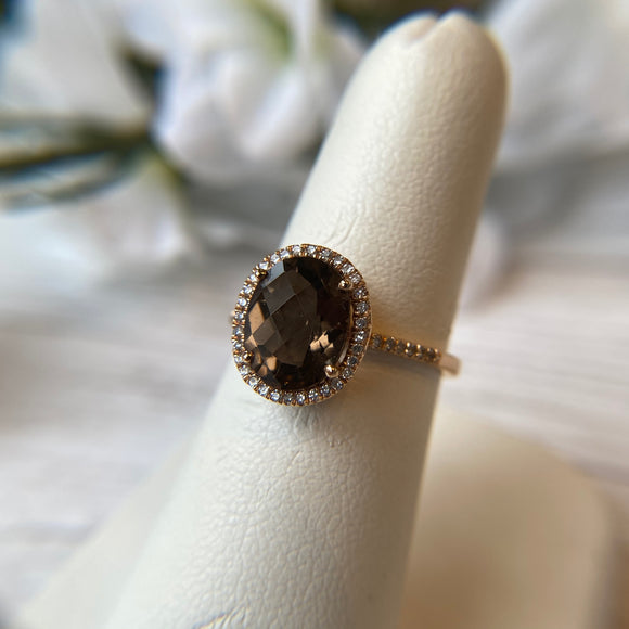 14K ROSE GOLD 2.25 CTW OVAL FACETED SMOKY QUARTZ 0.14 CTTW DIAMOND HALO RING - PERSONA JEWELRY