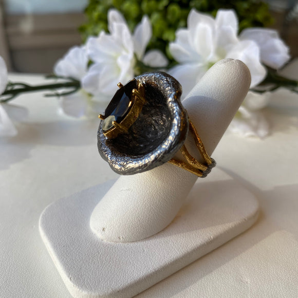 OXIDIZED STERLING SILVER & VERMEIL 4.00 CTW MARQUISE SHAPE SMOKY QUARTZ CAVE RING - PERSONA JEWELRY