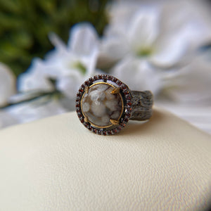 OXIDIZED STERLING SILVER CLAW PRONG CORAL CABOCHON IN GARNET HALO RING - PERSONA JEWELRY