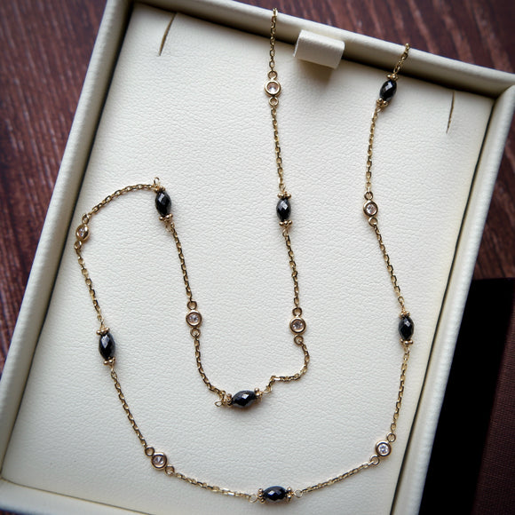 14K YELLOW GOLD BLACK AND WHITE DIAMOND BY THE YARD NECKLACE - PERSONA JEWELRY