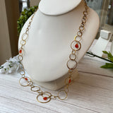 VERMEIL CARNELIAN ASYMMETRICAL MULTI SIZE RING CHAIN NECKLACE - PERSONA JEWELRY