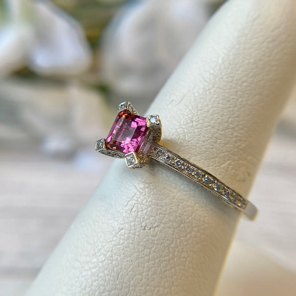 14K WHITE GOLD 0.51 CTW PINK TOURMALINE 0.38 CTTW DIAMOND RING - PERSONA JEWELRY