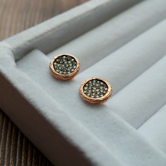 14K ROSE GOLD 0.46 CTTW BLACK AND COGNAC DIAMOND BUTTON STUD EARRINGS - PERSONA JEWELRY