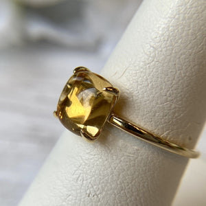 14K YELLOW GOLD 2.36 CTW CABOCHON CITRINE CLAW PRONG RING - PERSONA JEWELRY