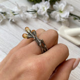 OXIDIZED STERLING SILVER 3-CITRINE BRANCH DESIGN OPEN RING - PERSONA JEWELRY