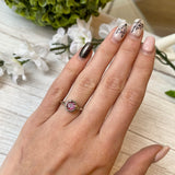 14K WHITE GOLD 0.90 CTW ROUND PINK TOURMALINE IN BEZEL SET 0.16 CTTW DIAMOND RING - PERSONA JEWELRY