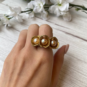 STERLING SILVER & VERMEIL PEARL FLOWER TEXTURED BOUQUET RING WITH HIDDEN AMETHYST - PERSONA JEWELRY