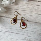 VERMEIL PEAR SHAPE GARNET DANGLE HOOK EARRINGS - PERSONA JEWELRY