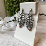 OXIDIZED STERLING SILVER 0.72 CTTW GARNET JUNIPER LEAF EARRINGS - PERSONA JEWELRY