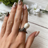 OXIDIZED STERLING SILVER PEARL WRAP BRANCH STYLE RING - PERSONA JEWELRY