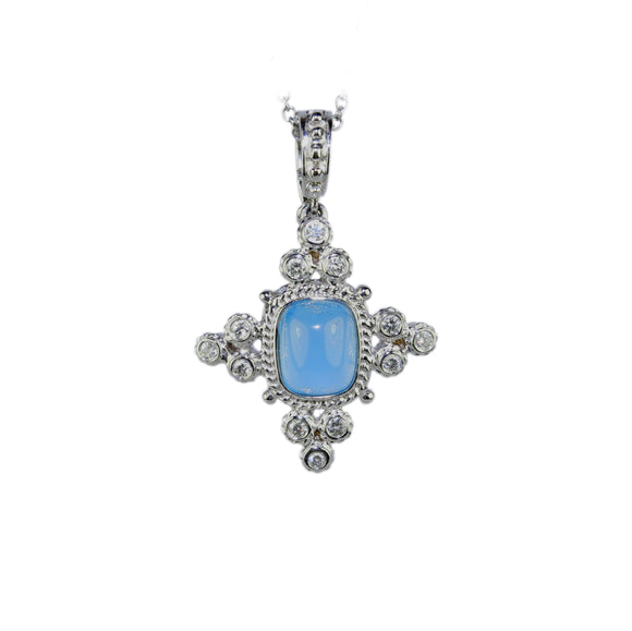 18K WHITE GOLD AQUAMARINE AND DIAMOND CROSS PENDANT - PERSONA JEWELRY