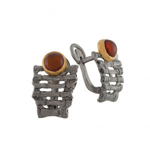 ORANGE AGATE OXIDIZED SILVER FENCE EARRINGS - PERSONA JEWELRY
