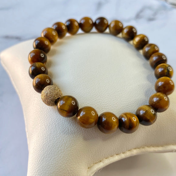 TIGER EYE & VERMEIL BEAD BRACELET - PERSONA JEWELRY
