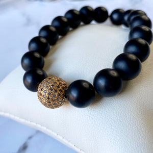 BLACK ONYX & 18K YELLOW GOLD COGNAC DIAMOND BEAD BRACELET - PERSONA JEWELRY
