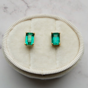 18K YELLOW GOLD 3.00 CTTW EMERALD CUT COLOMBIAN EMERALD STUDS EARRINGS - PERSONA JEWELRY