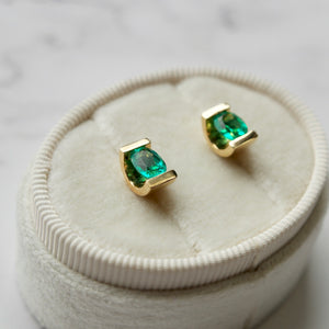 18K YELLOW GOLD 1.37 CTTW OVAL EMERALD STUDS EARRINGS - PERSONA JEWELRY