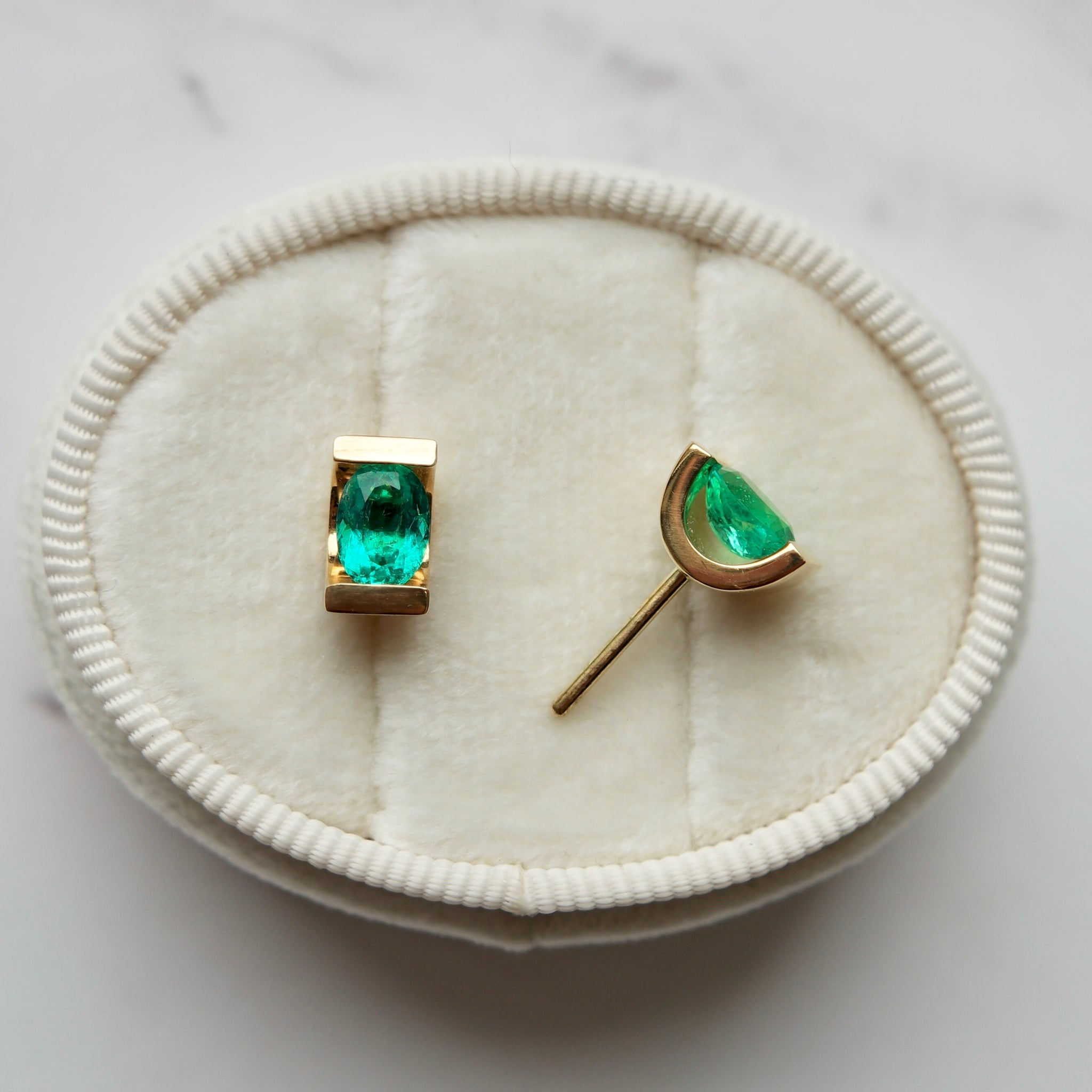 Jewels By Lux 14k Yellow Gold Studs Oval Gemstone and Diamond Earrings