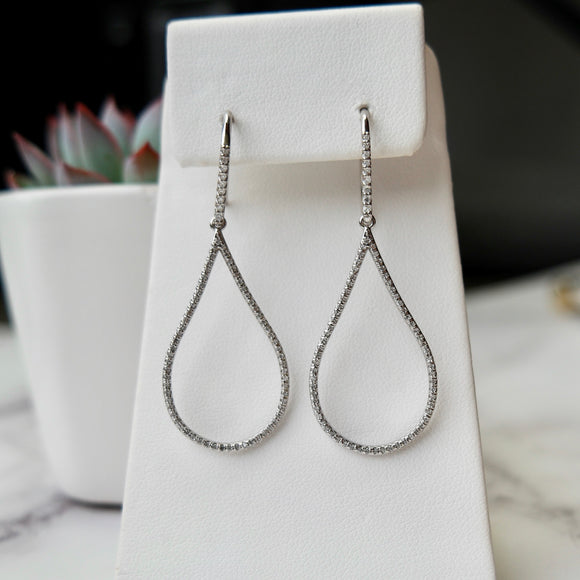 14K WHITE GOLD 1.05 CTTW DIAMOND TEAR DROP HOOKS EARRINGS - PERSONA JEWELRY