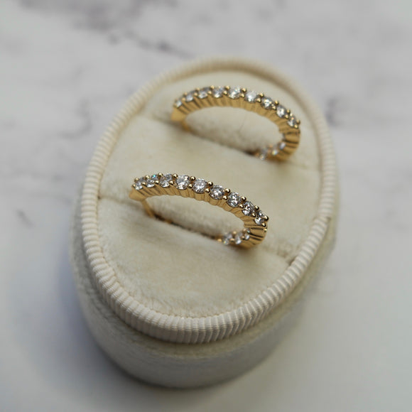 14K YELLOW GOLD 1.02 CTTW DIAMOND IN/OUT HOOP EARRINGS - PERSONA JEWELRY