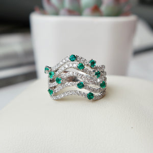 18K WHITE GOLD 1.00 CTTW EMERALD 1.20 CTTW DIAMOND CURVED RING - PERSONA JEWELRY