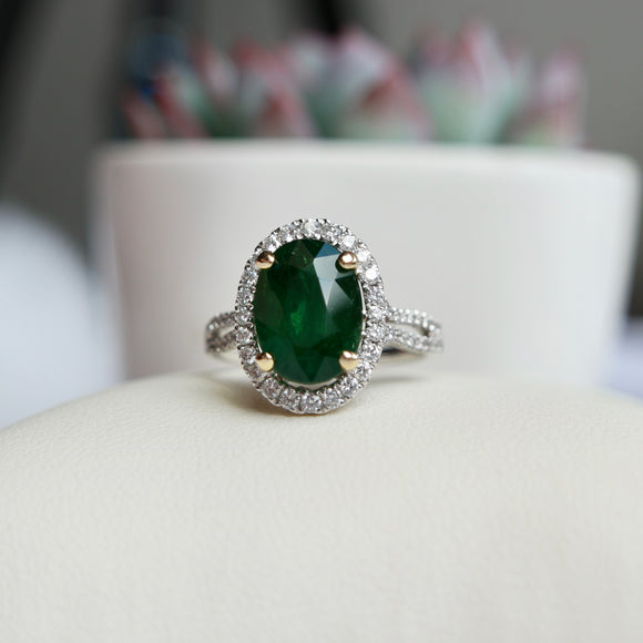 14K WHITE GOLD 4.84 CT TSAVORITE 0.54 CTTW DIAMOND HALO DOUBLRE SHOULDER RING - PERSONA JEWELRY