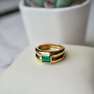 18K YELLOW GOLD 0.65 CTW BEZEL SET EMERALD RING - PERSONA JEWELRY