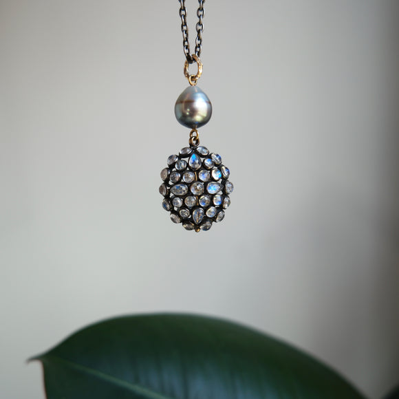OXIDIZED STERLING SILVER & 14K YELLOW GOLD MOONSTONE & PEARL NECKLACE - PERSONA JEWELRY