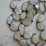 STERLING SILVER OVAL FACETED MOONSTONE NECKLACE - PERSONA JEWELRY