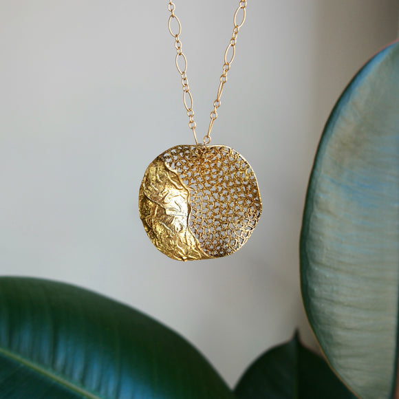 VERMEIL WAVED PERFORATED TEXTURED DISK NECKLACE - PERSONA JEWELRY