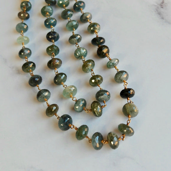 VERMEIL STERLING SILVER MOSS AQUAMARINE NECKLACE WITH MAGNETIC BALL CLASP - PERSONA JEWELRY