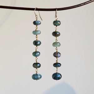 VERMEIL STERLING SILVER MOSS AQUAMARINE DANGLE HOOK EARRINGS - PERSONA JEWELRY