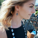 OXIDIZED STERLING SILVER MOONSTONE & AQUA DANGLE HOOK EARRINGS - PERSONA JEWELRY
