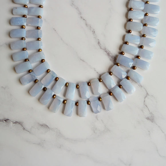 CHALCEDONY & GOLD PEARL DOUBLE STRAND NECKLACE - PERSONA JEWELRY