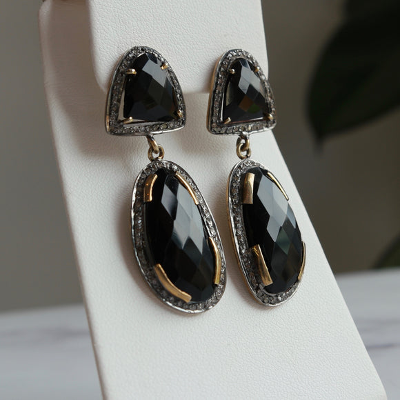 14K YELLOW GOLD OVER STERLING SILVER BLACK ONYX & DIAMOND DANGLE EARRINGS