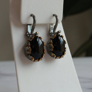 OXIDIZED STERLING SILVER OVAL BLACK AGATE DRAGON'S EGG EARRINGS - PERSONA JEWELRY