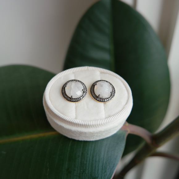 OXIDIZED STERLING SILVER 2.08 CTTW MOONSTONE & 1.08 CTTW DIAMOND STUD EARRINGS
