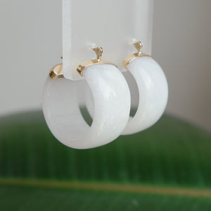 14K YELLOW GOLD WIDE MOONSTONE HOOP EARRINGS - PERSONA JEWELRY
